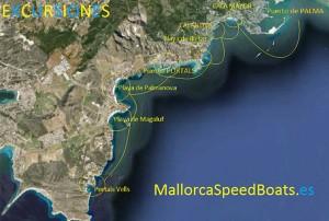 Itinerario excursiones en Mallorca, semirígidas